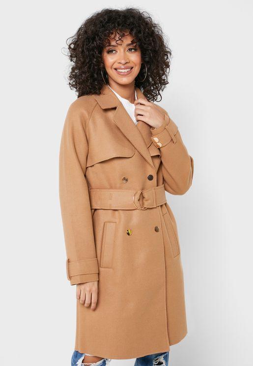 معطف بحزام وأزرار مزدوجة