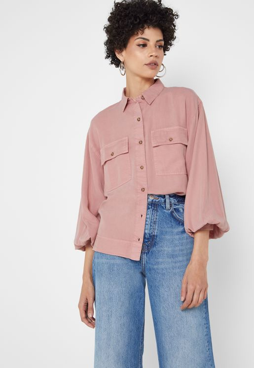 Pocket Detail Button Down Shirt