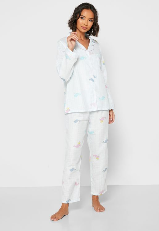 Fish Print Shirt Pyjama Set