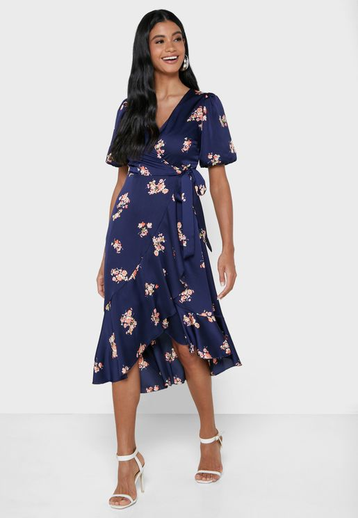 Puff Sleeve Printed Midi Dress