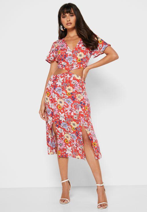 Flutter Sleeve Floral Print Dress