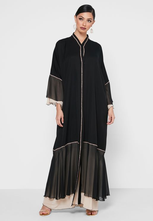 Shimmer Trim Layered Hem Abaya