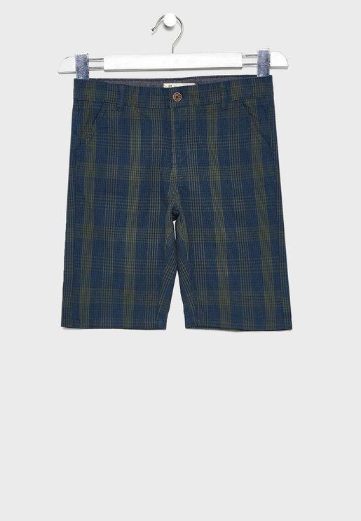 Kids Checked Shorts