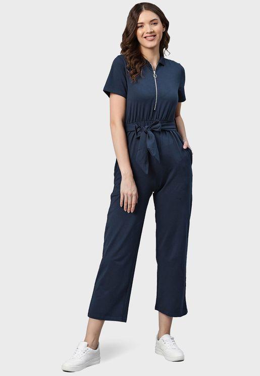 Bow Pocket Detail Jumpsuit