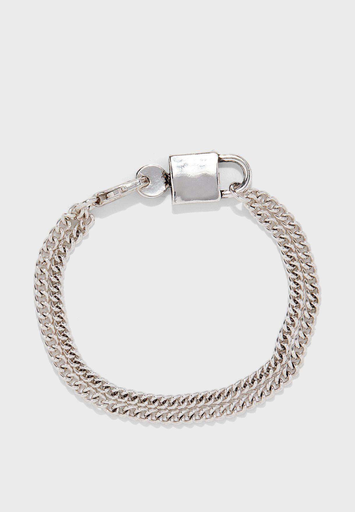 Padlock Pendant Chain Bracelet