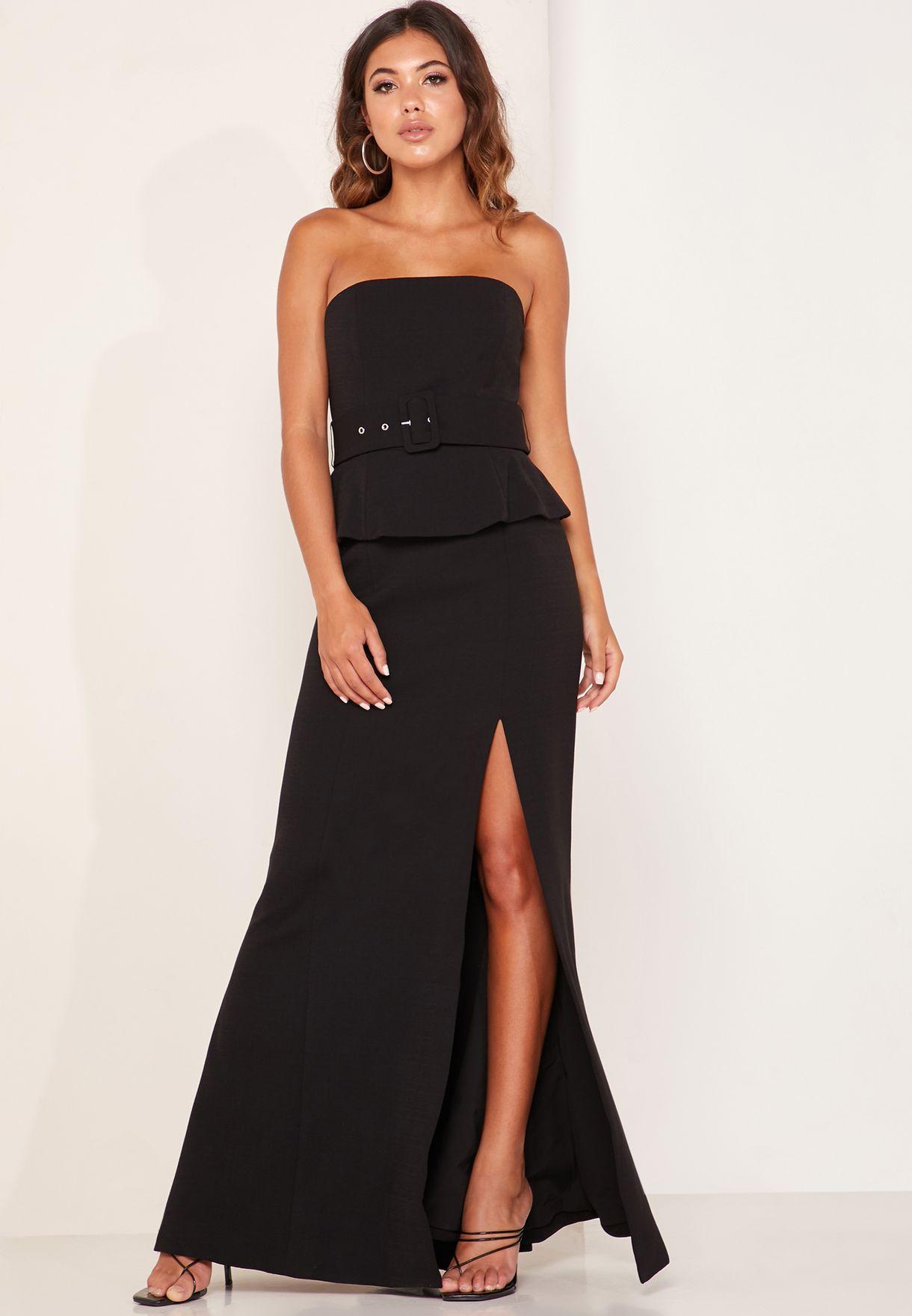 Mode Bandeau Belted Peplum Maxi Dress