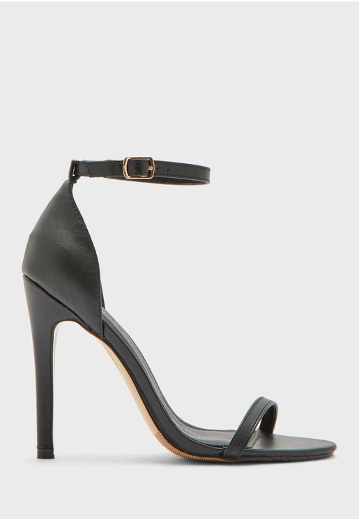Ankle Strap Round Toe Stiletto Sandal