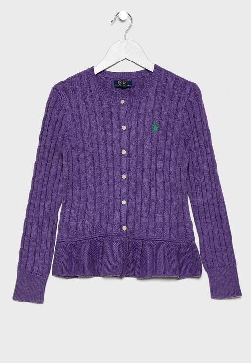 Teen Embroidered Logo Cardigan