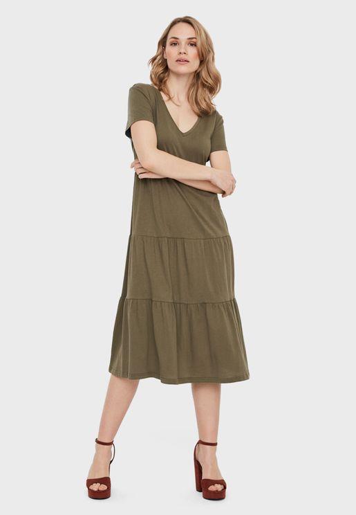 Pleat Detail V-Neck Dress