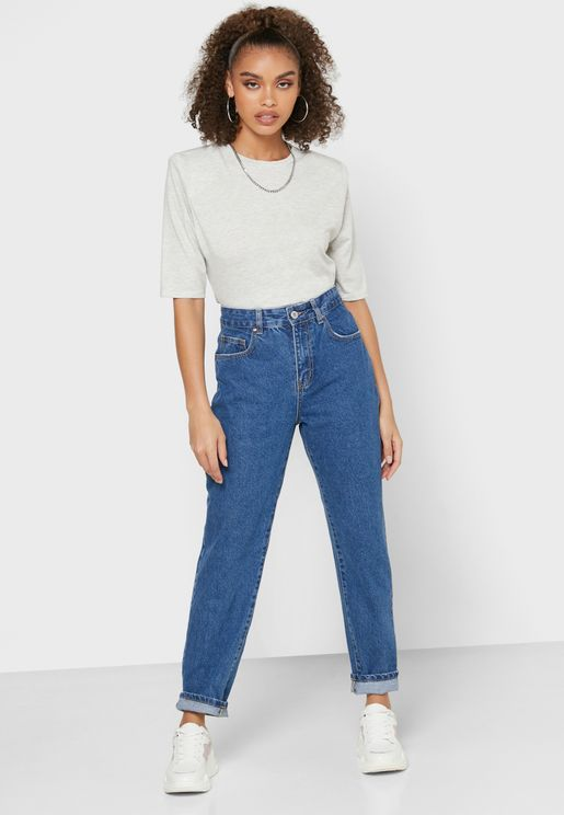 Washed Mom Jeans