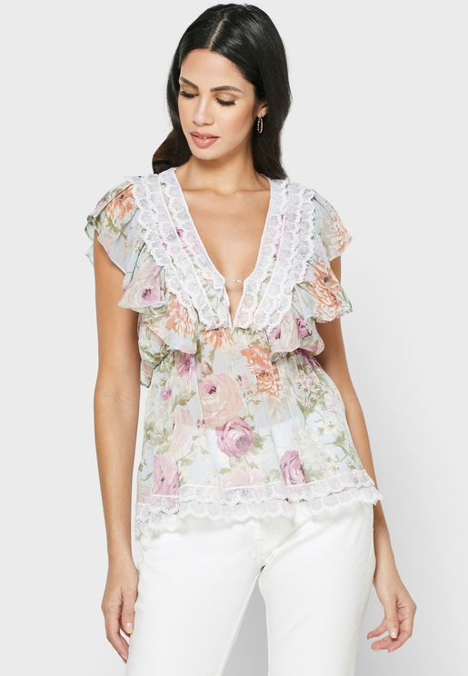 Charlett Lace Trim Top