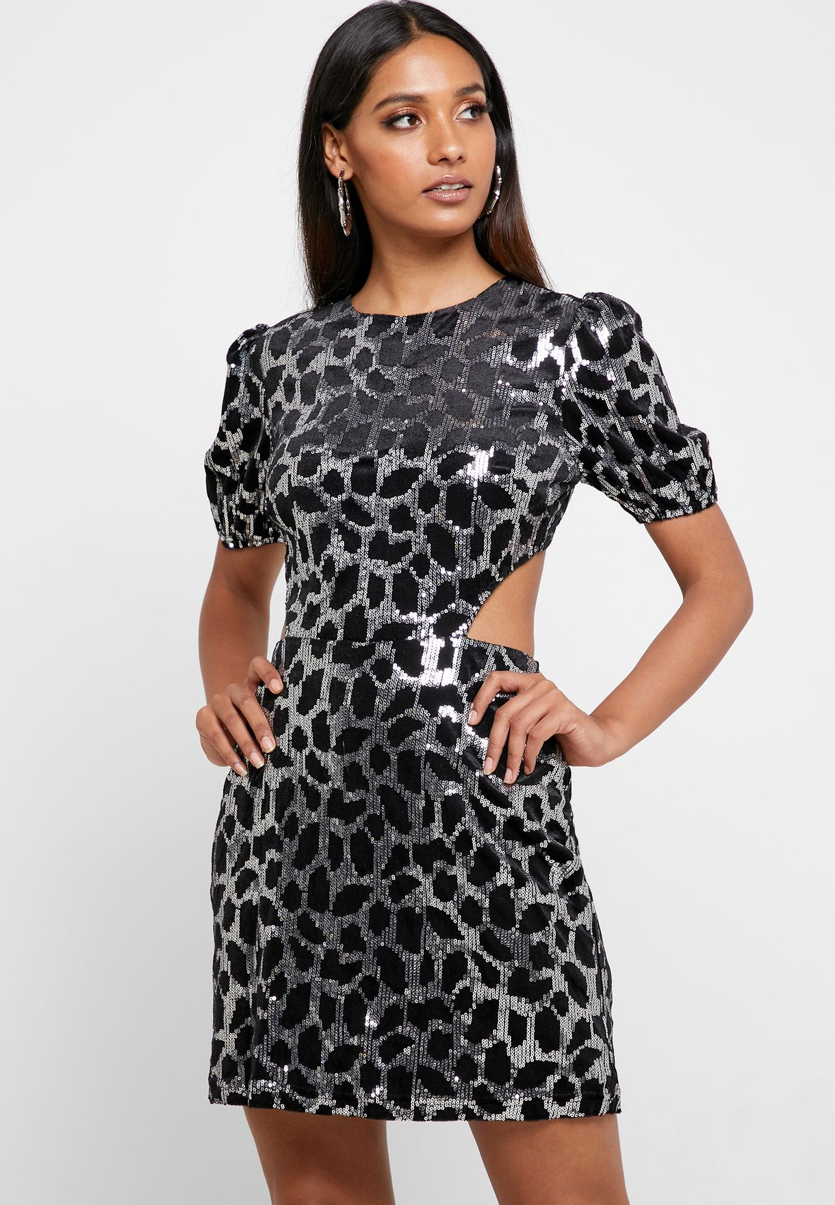 Open Back Animal Print Dress