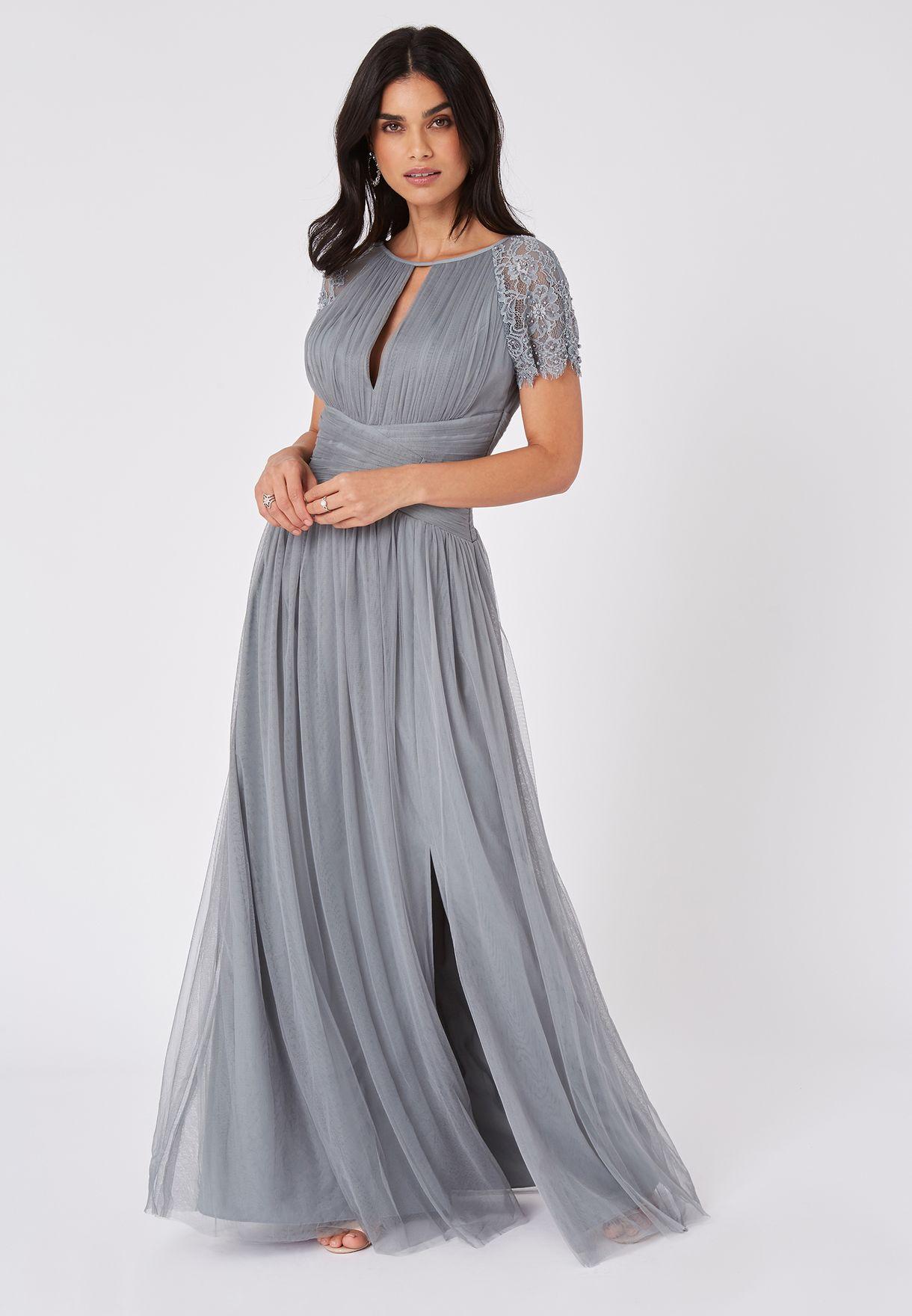 Lace Trim Front Split Pleated Dress