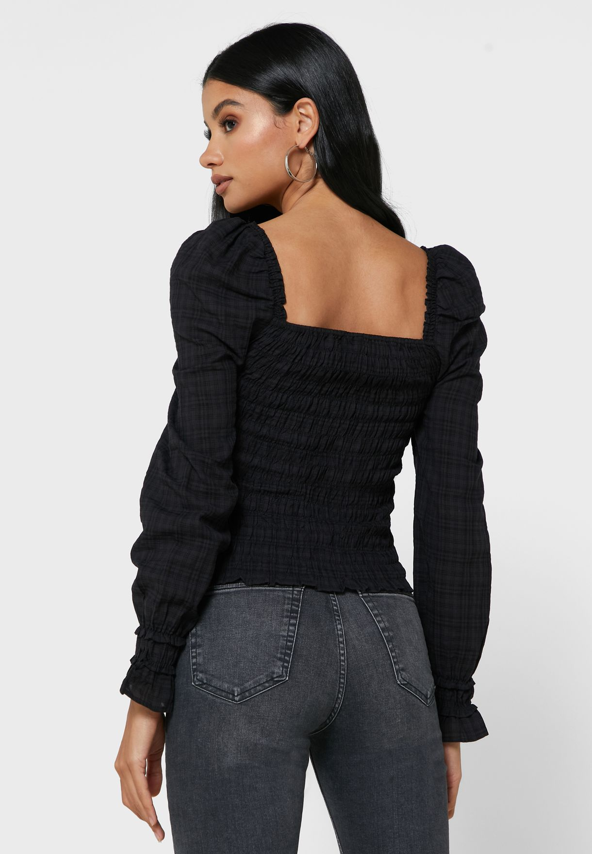 Square Neck Shirred Top