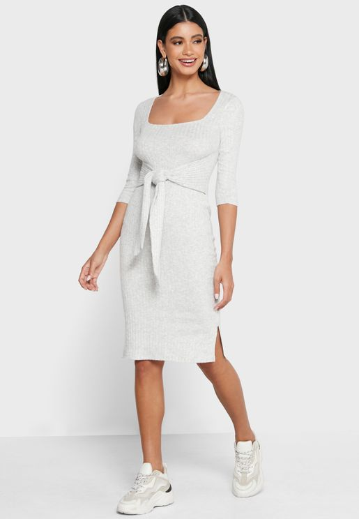Square Neck Tie Waist Midi Dress