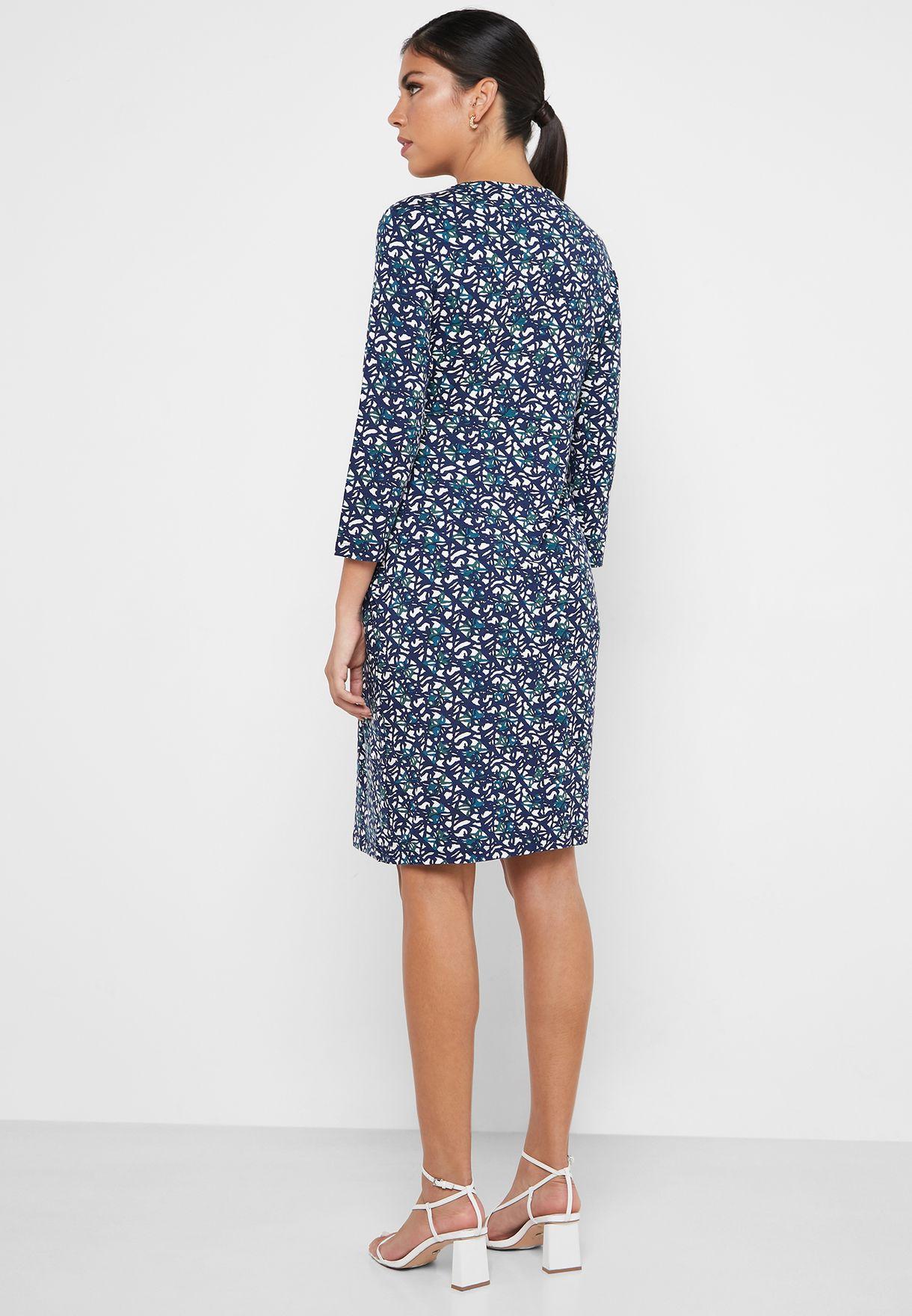 فستان مطبع بعقدة امامية