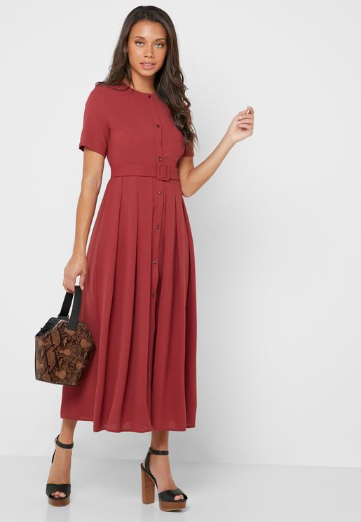 Button Down Belted Midi Dress