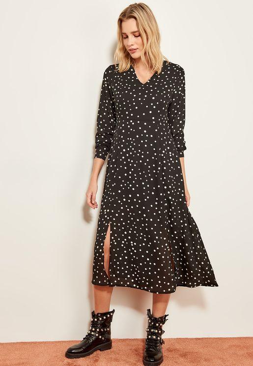 Printed Front Slit Dress