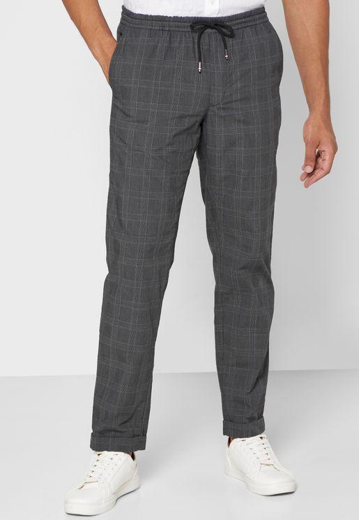 Drawstring Checked Sweatpants