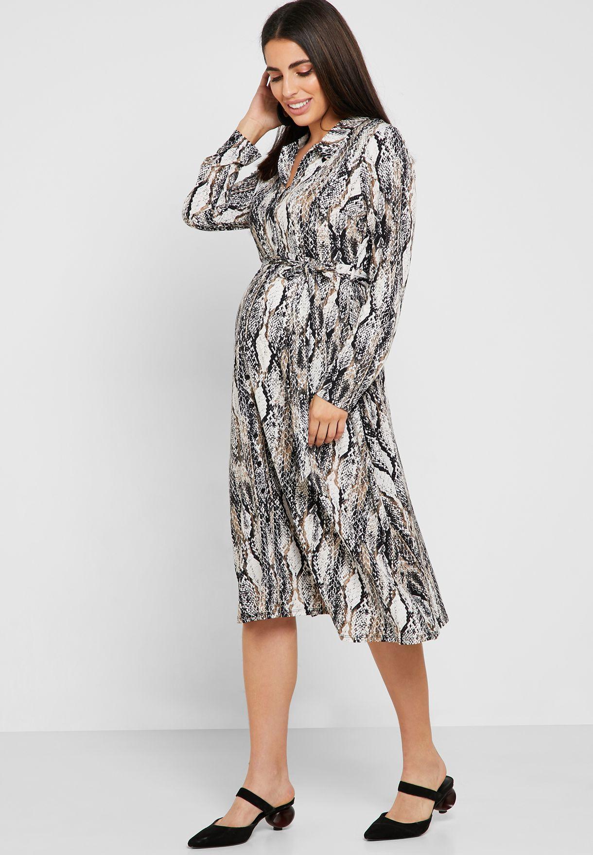 Snake Print  Belted Shirt Dress