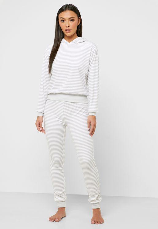 Striped Hoodie & Cuff Pyjama Set