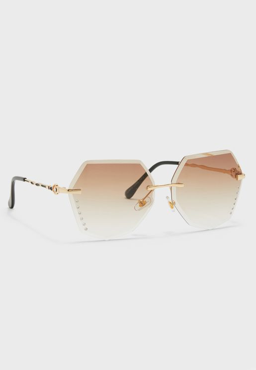 f5201fa2f4e Angled Sunglasses With Ombre Lens