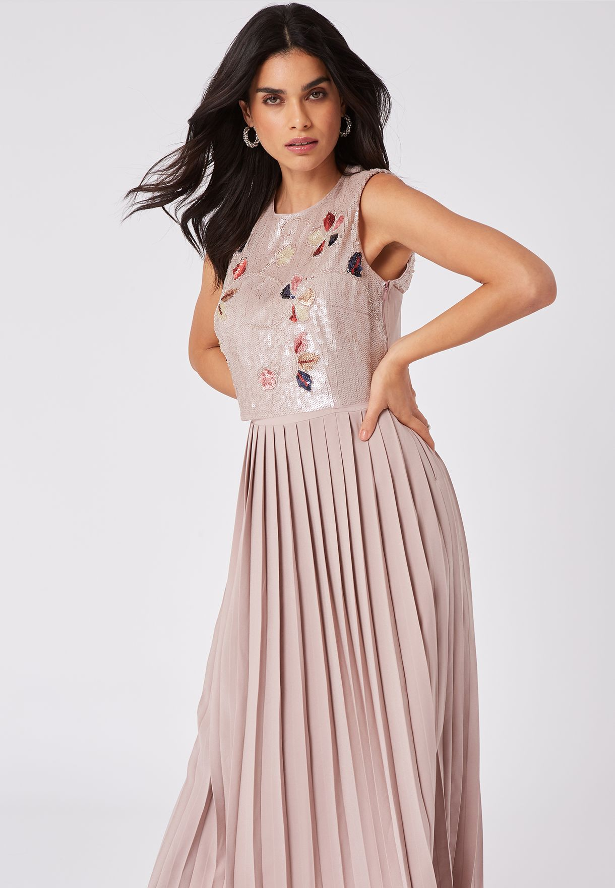 Cut Out Back Pleated Dress