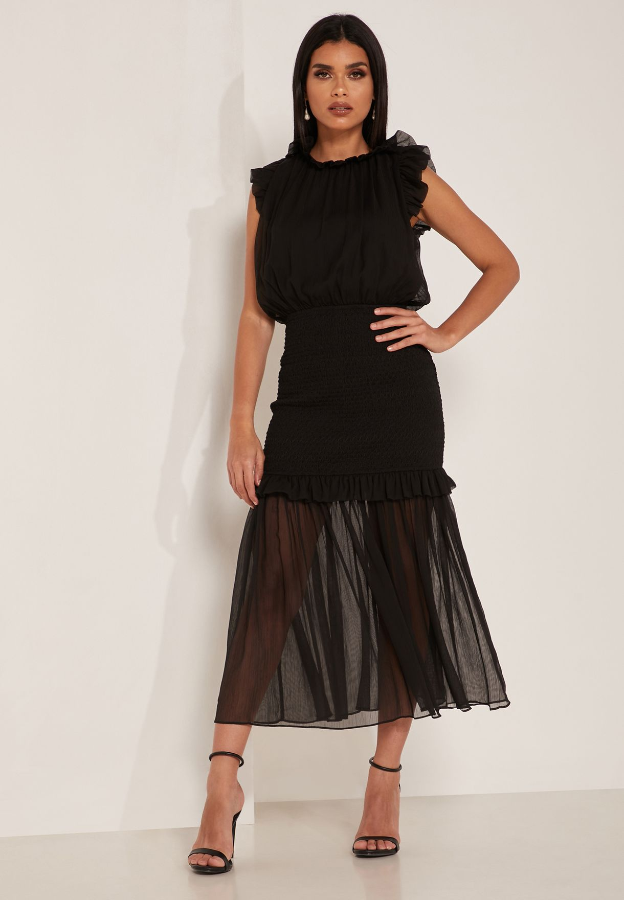 Capture Ruffle Detail Sheer Dress