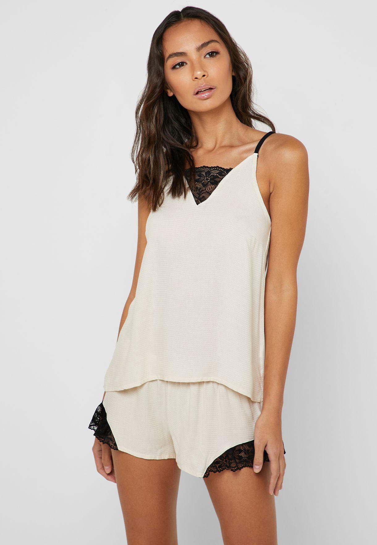 cbfb7e5159e2e5 Shop Penyemood beige Lace Insert Cami Top  amp  Shorts Pyjama Set ...