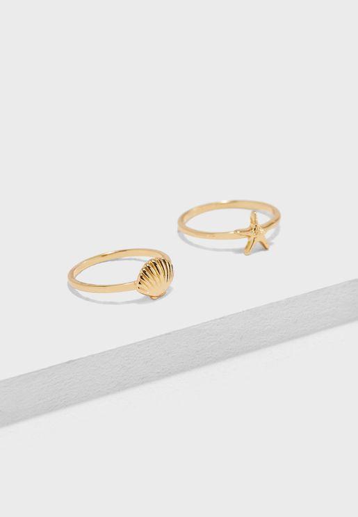 Multipack Shell & Starfish Rings