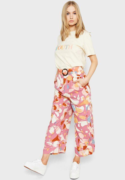 Belted Wide Leg Printed Pants
