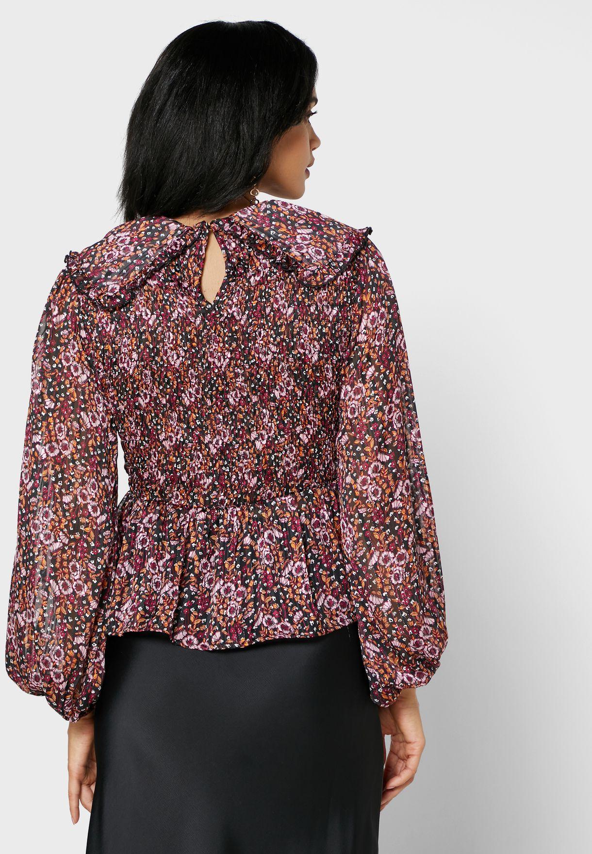 Floral Print Shirred Peplum Top