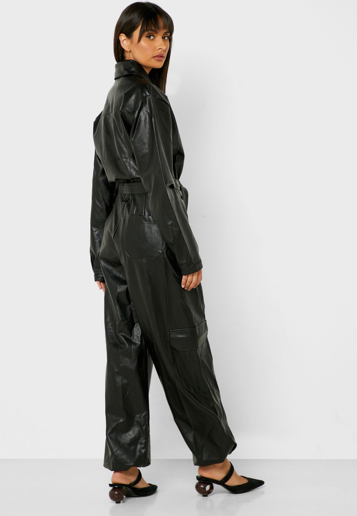 Wide Leg PU Jumpsuit
