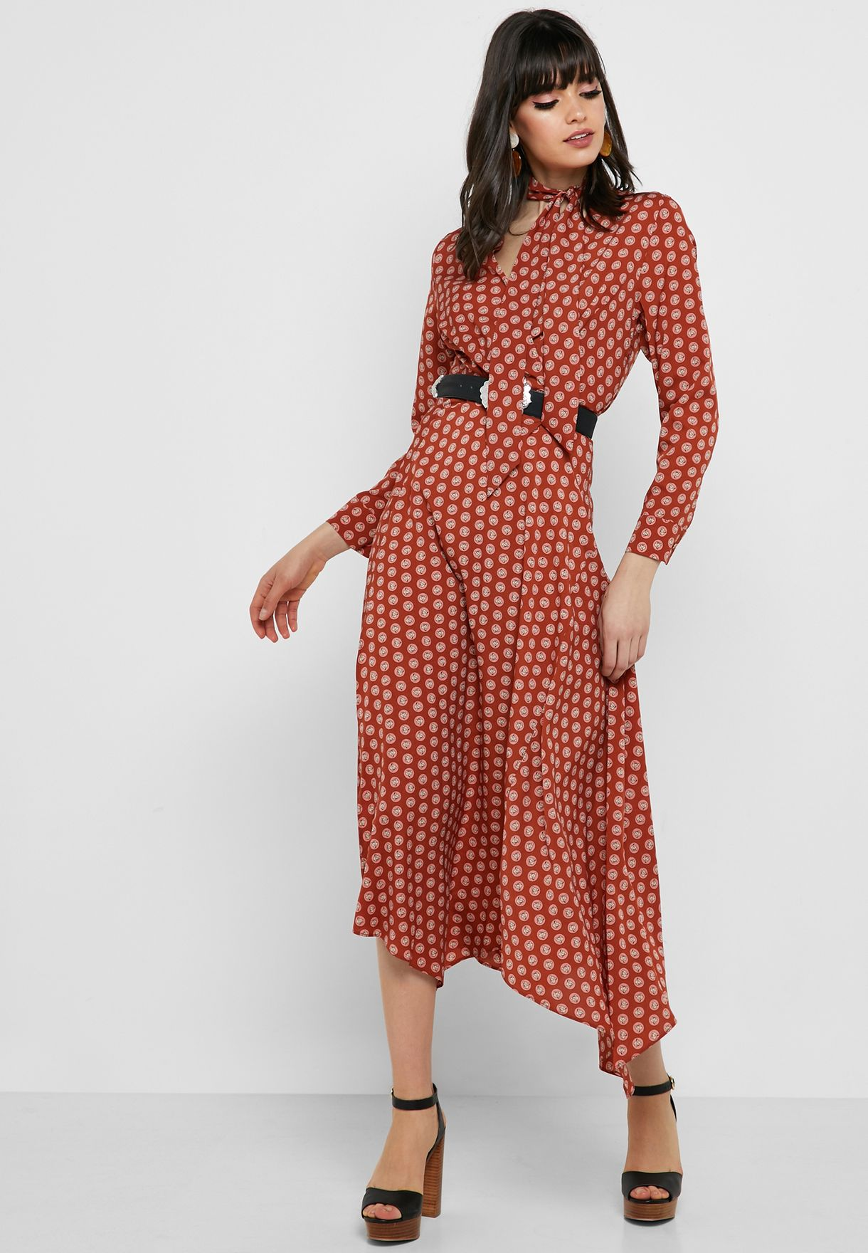 Tie Neck Polka Dot Dress