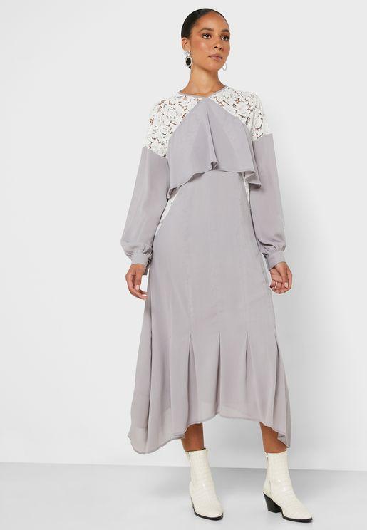 Lace Detail Open Back Dress