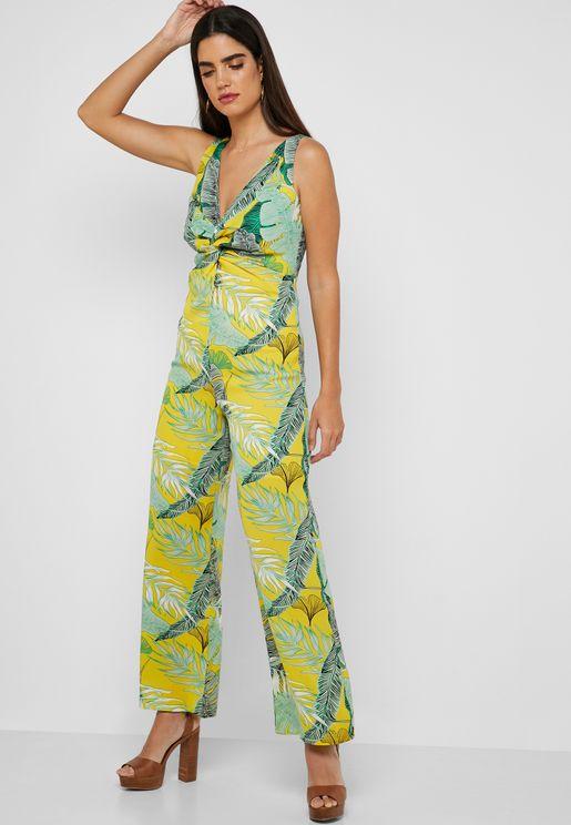 Palm Print Twisted Front Jumpsuit