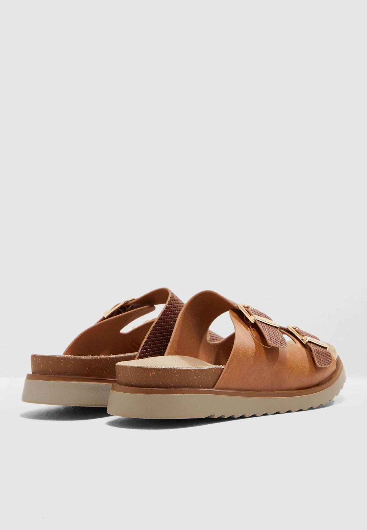 Double Buckle Stud Sandal
