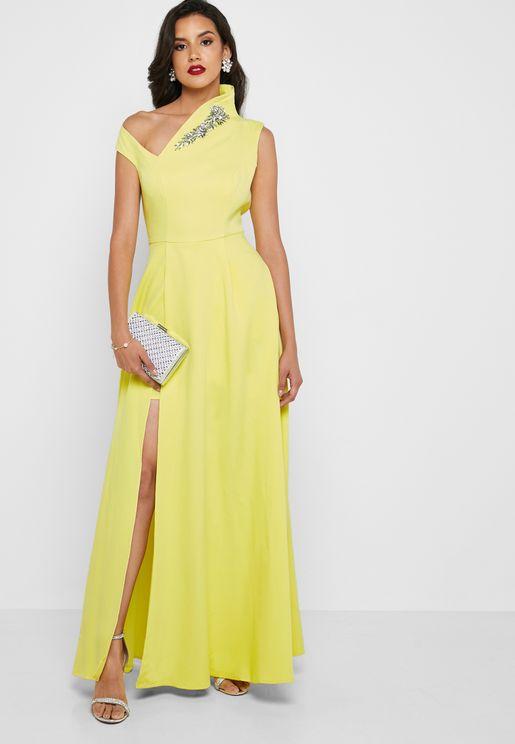 82d49e797 Asymmetric Shoulder Embellished Dress