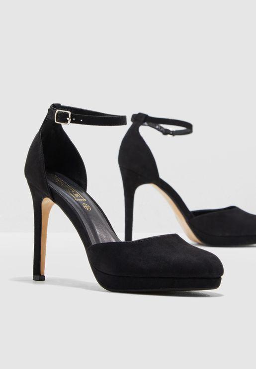 581bda7d688 Platform Court Shoe With Ankle Strap