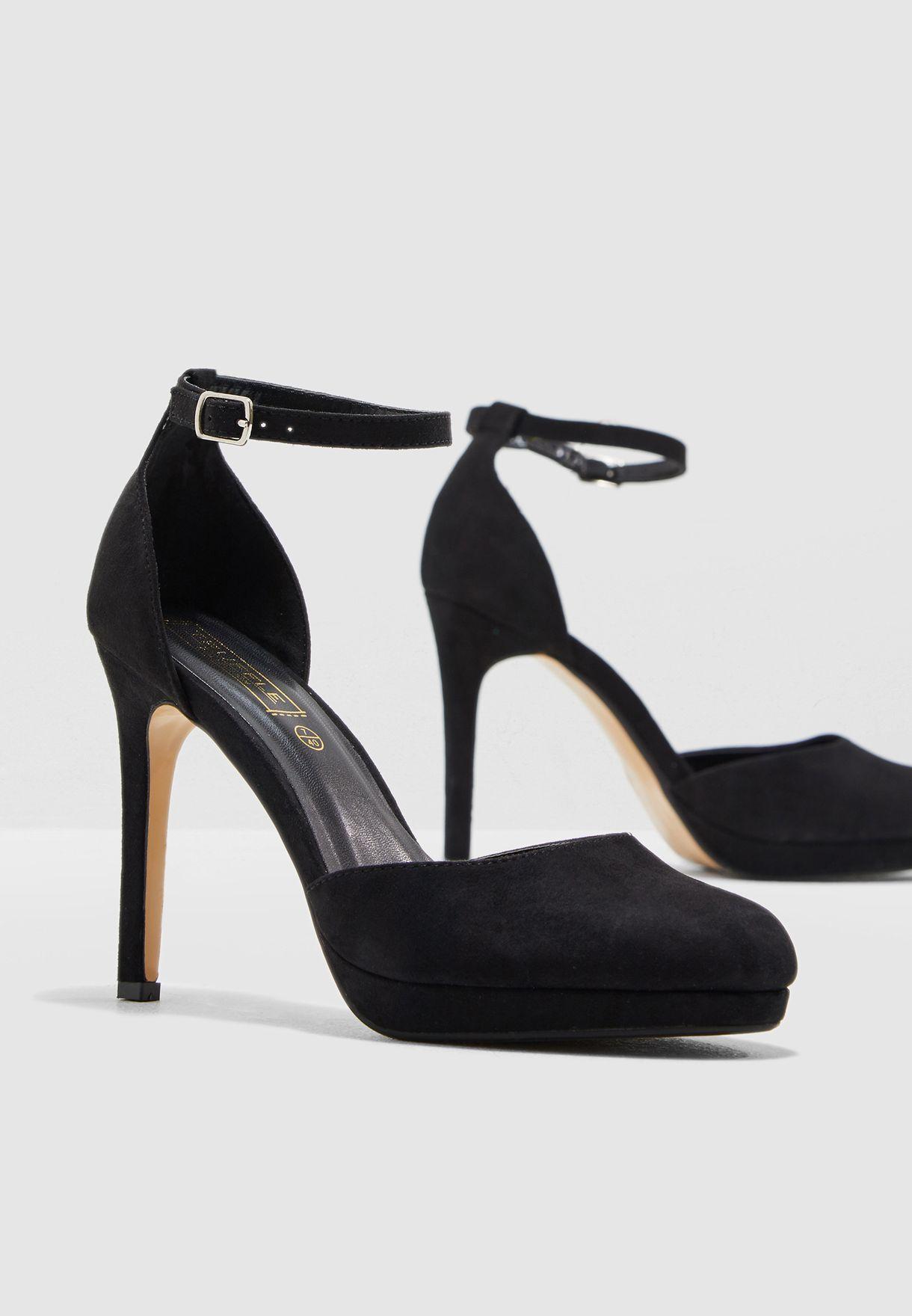 1f8f5987dd0 Black Platform Court Shoes With Ankle Strap - Style Guru  Fashion ...