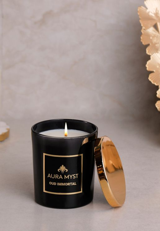 Black Glass Jar Candle With Gold Lid Oud Immortal