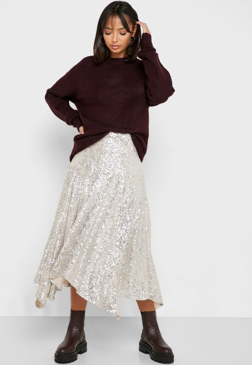Asymmetric Sequin Midi Skirt