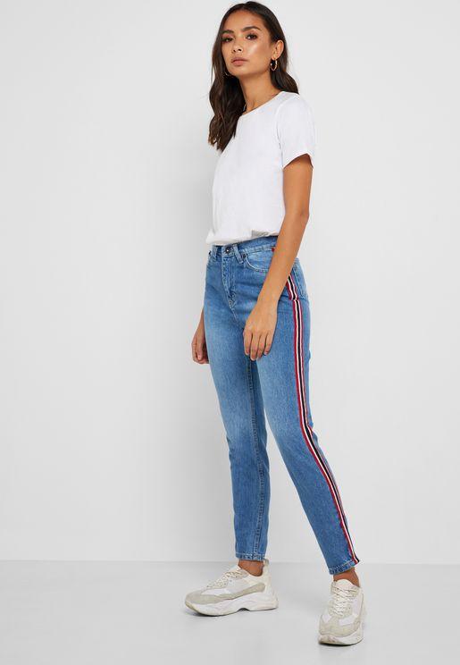Contrast Side Paneled Mom Jeans