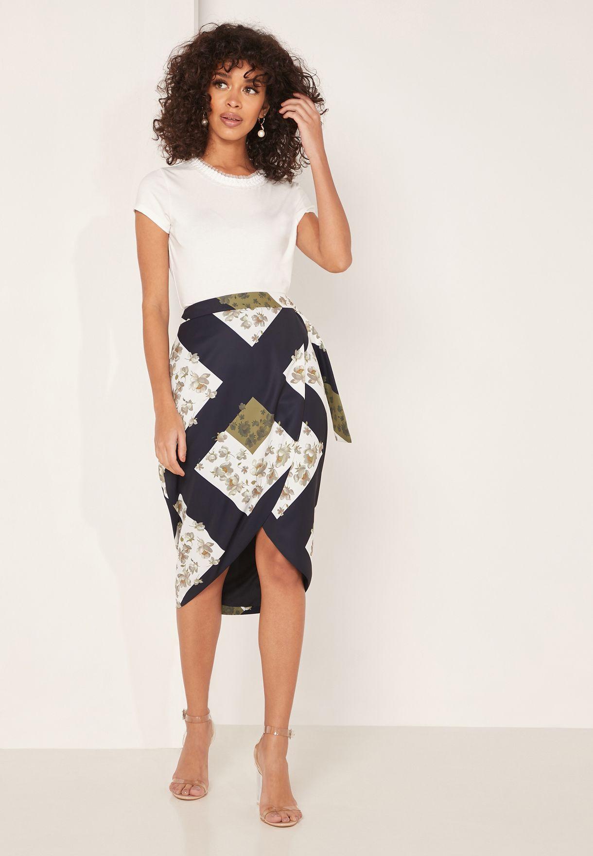 Saphirr Belted Wrap A-Line Skirt