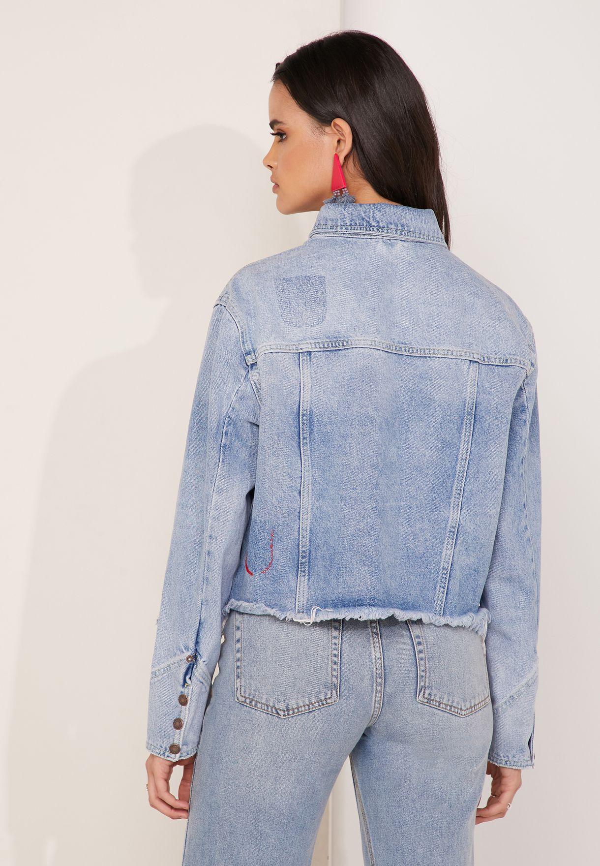 Dilon Stud Pleat Detail Denim Jacket