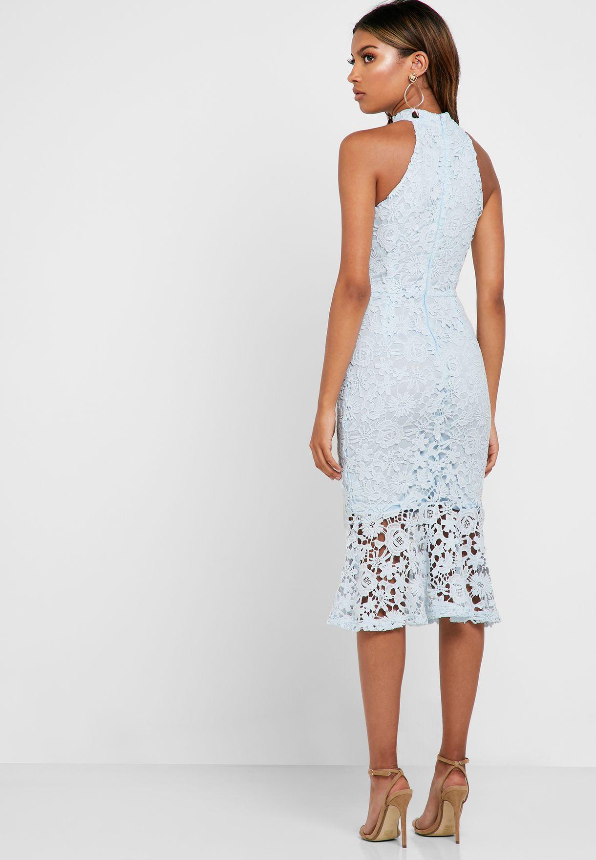 Halter Neck Frill Detail Dress