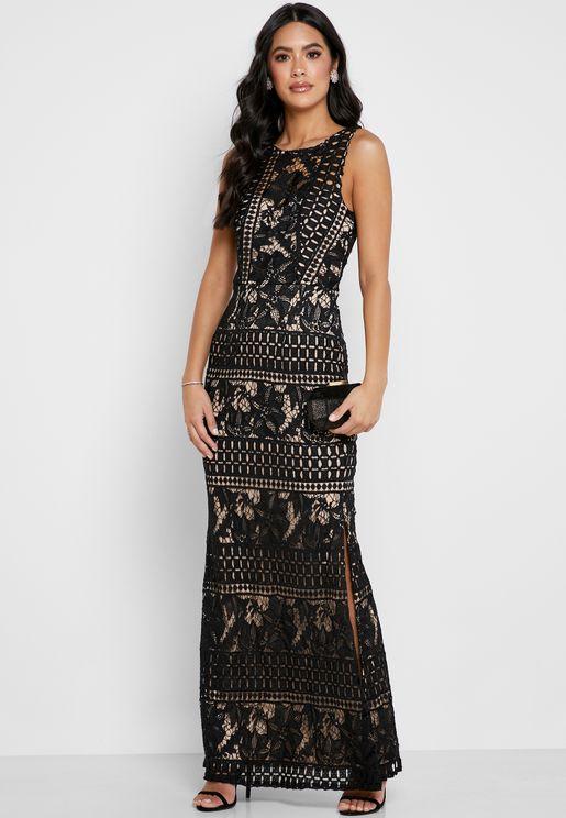 Side Split Lace Bodycon Dress