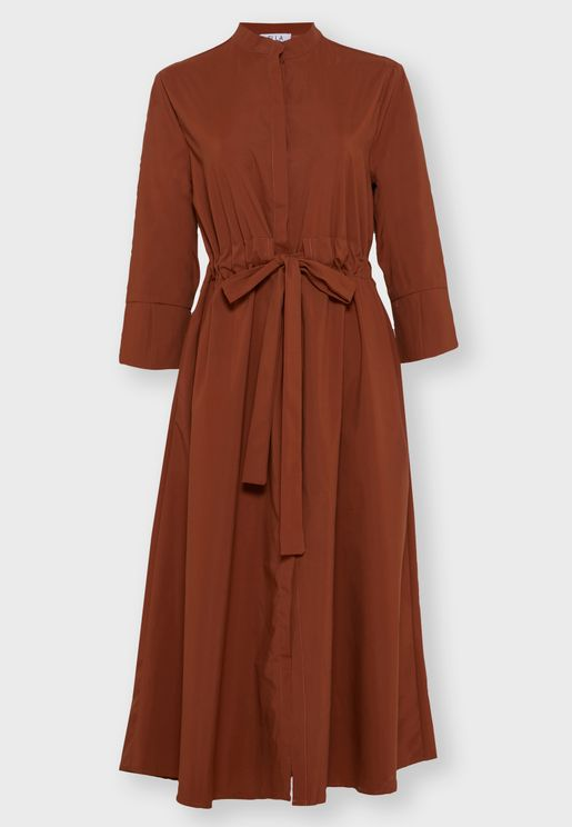 Drawstring Shirt Midi Dress
