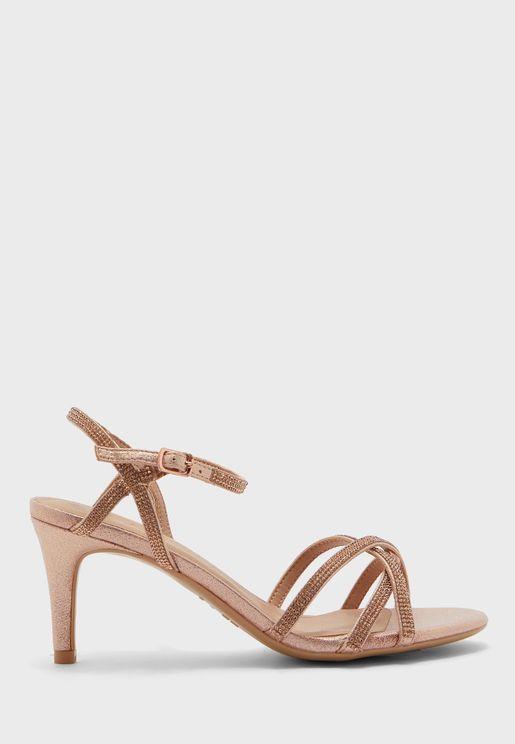 Diamante Mid Heel Sandals
