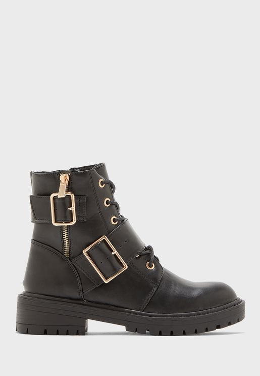 Lace Up Buckle Detail Ankle Boot